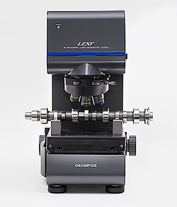 A camshaft set on a LEXT OLS5000 microscope